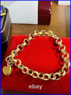 18K 750 Saudi Real Fine UAE Gold 7 Long Womens Heart Bracelet 6mm 5.62 grams