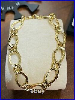 18K 750 Saudi Real Fine UAE Gold 8 Long WOMEN'S Bracelet 4.31g 11mm Fits Large