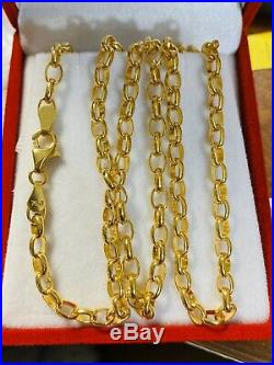 18K 750 Yellow Gold Chain Mens Womens Necklace 20 Long 4mm