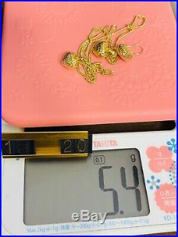 18K 750 Yellow Gold Heart Womens Necklace & Earring 20 Long 2mm USA Seller