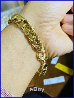 18K 750 Yellow Gold Mens Unisex Bracelet 8 Long 10mm USA Seller Great Gift