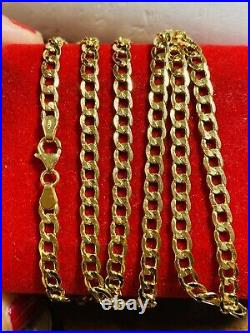 18K 750 Yellow Gold Mens Womens Curb Necklace 22 Long 4mm 7.5g Fast Ship USA