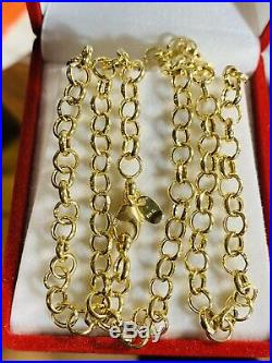 18K 750 Yellow Gold Rolo Mens Real Chain Necklace 22 Long 4mm USA Seller