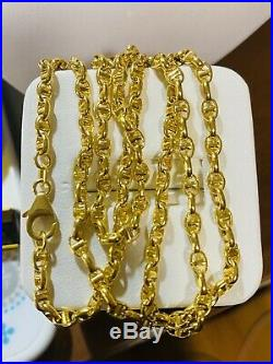 18K 750 Yellow Gold Unisex Gucci Link Chain Necklace 22 Long 3.2mm USA Seller