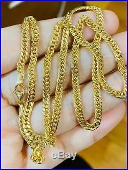 18K Fine 18 Yellow Gold Mens Womens Chain Necklace With 3.2mm Wide USA Seller