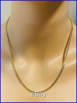 18K Fine 20 Yellow Gold Mens Womens Chain Necklace With 3.5mm Wide USA Seller