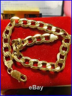 18K Fine 750 MENS WOMEN'S Cuban Saudi Gold Bracelet FITS 8.7 US SELLER 8mm Wide