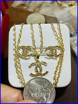 18K Fine 750 Real Gold 16Long Womens Handmade Set Necklace & Earring 2mm 6.21g