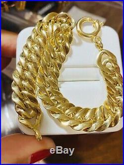 18K Fine 750 Real WOMEN'S Cuban Saudi Gold Bracelet FITS 7 USA SELLER 11.2mm