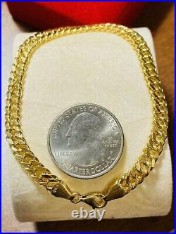 18K Fine 750 Real Womens Curb Saudi Gold Bracelet FITS 7.5 Long 6mm Fast Ship