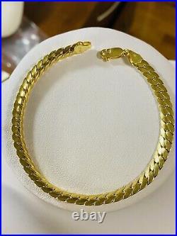 18K Fine 750 Real Womens Mens Curb Saudi Gold Bracelet FITS 8 US SELLER 5.5mm