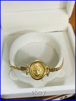 18K Fine 750 Real Womens Saudi Gold Cameo Queen Bracelet 7.2 Long 3.2mm 4.94g