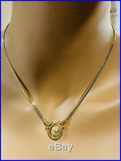 18K Fine 750 Saudi Gold 18 Cameo Set Necklace & Earring With 3.2mm USA Seller