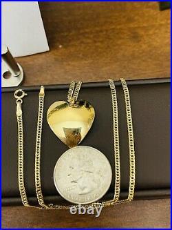 18K Fine 750 Saudi Gold 18 Long Womens Heart Necklace 3.81g 2.5mm