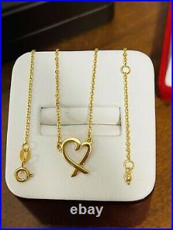 18K Fine 750 Saudi Gold 18 Long Womens Heart Necklace 3g 1.2mm