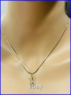 18K Fine 750 Saudi Gold 18 Long Womens Infinity Necklace & Earring 4.9g 2mm