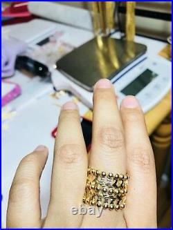 18K Fine 750 Saudi Gold 2 Way Ring & Bangle Bracelet Free size (1 Pc) USA Seller