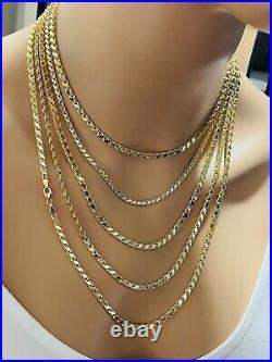 18K Fine 750 Saudi Gold 22 Long Mens Womens Damascus Chain Necklace 4mm 9.24g