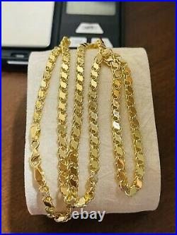 18K Fine 750 Saudi Gold 24 Long Mens Womens Damascus Chain Necklace 4mm 10.0g