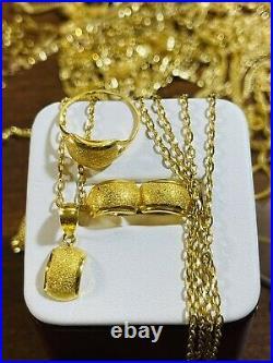 18K Fine 750 Saudi Gold Kids Adult Necklace & Earring 16 Ring 6 1.6mm 5.81g