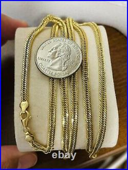18K Fine 750 Saudi Gold Mens Cuban Chain Necklace With 24 Long 4mm 9.93g