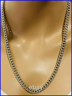 18K Fine 750 Saudi Gold Mens Cuban Chain Necklace With 24 Long 7mm 14.05g