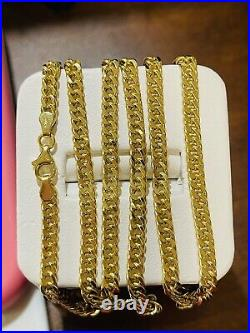 18K Fine 750 Saudi Gold Mens Womens Cuban Chain Necklace With 22Long 4mm 9.46g