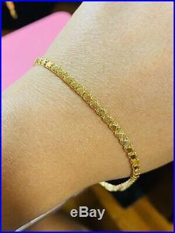 18K Fine 750 Saudi Gold Real Women's Heat Anklet 10 Long USA Seller 3.2mm