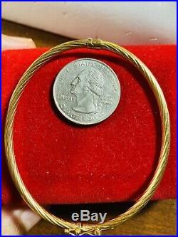 18K Fine 750 Saudi Gold Women's Bangle Bracelet Freesize S/M 6-7 3.2mm