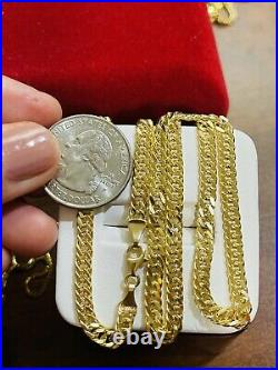 18K Fine 750 Saudi Gold Womens 16 Long Cuban Chain Necklace 4.5mm Wide 8.26g