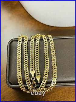 18K Fine 750 Saudi Gold Womens 18 Long Cuban Chain Necklace 4.5mm Wide 9.1g
