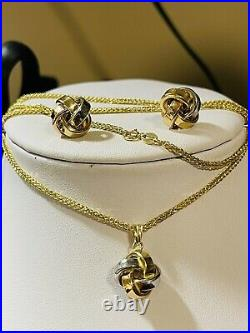 18K Fine 750 Saudi Gold Womens Flower Set Necklace & Earring With 18 2mm 6.4g