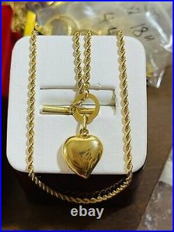 18K Fine 750 Saudi Gold Womens Heart Necklace With 18 Long 2.5mm-12.7mm 6.7g