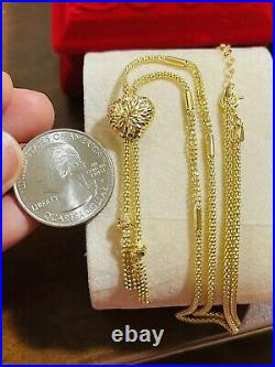 18K Fine 750 Saudi Gold Womens Heart Set Necklace With 18 Long 2mm-11mm 6.7g