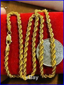 18K Fine 750 Saudi Gold Womens Rope Chain Necklace 18 Long 3.2mm 6.4g