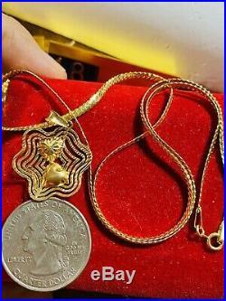 18K Fine 750 Saudi Gold Womens Set Flower Necklace 18 Long 2.5mm