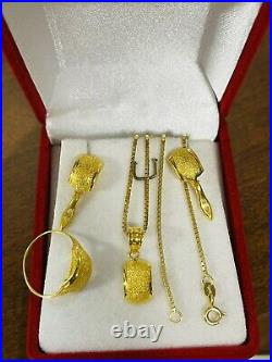18K Fine 750 Saudi Gold Womens Set Necklace & Earring 18 Ring 6 1.6mm 7.33g