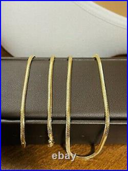 18K Fine 750 Saudi Gold Womens Snake Chain Necklace 20 Long 3mm 6.3g Fastship