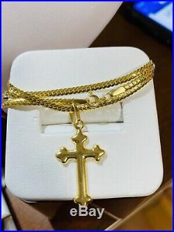 18K Fine 750 Saudi Gold Womens Snake Cross Necklace 18 Long USA Seller 2.5mm