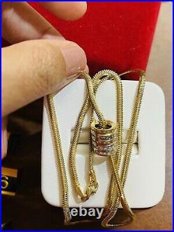 18K Fine 750 Saudi Gold Womens Snake Set Necklace 20 Long 3mm 8.12g Fast-ship