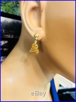 18K Fine 750 Saudi Gold Yellow Women's Heart Dangle Earring