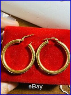 18K Fine 750 Saudi Gold Yellow Women's Hoops Earring USA Seller 3.56g