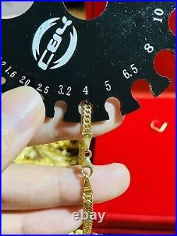 18K Fine 750 Saudi UAE Gold 21 Long Mens Womens Anchor Necklace 3.5mm 9.23gram