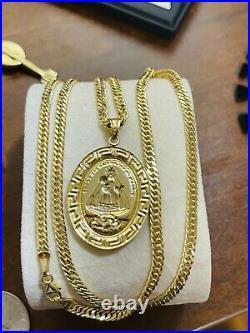 18K Fine 750 Saudi UAE Gold 21 Long Womens Virgen Caridad Necklace 3.5mm 8.4g