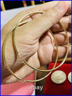 18K Fine 750 Saudi UAE Gold Womens 3XLarge Hoops Earring 2.5mm 4.0g 2.6 Long