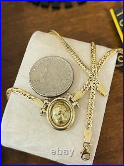18K Fine 750 Saudi UAE Gold Womens Cameo Necklace With 18 Long 3.2mm 8.3 grams
