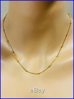 18K Fine 750 Yellow Gold Womens Ball Necklace With 18 Long USA Seller