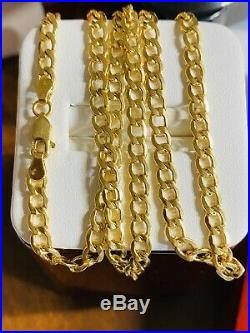 18K Fine 750 Yellow Gold Womens Necklace With 18 Long USA Seller 4mm