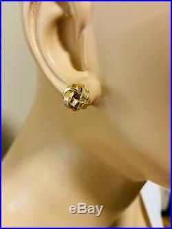 18K Fine 750 Yellow Saudi Gold Women's Set Flower Pendant & Earring US Seller