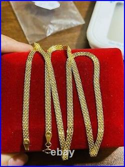 18K Fine 750 Yellow Saudi Gold Womens Flat Chain Necklace 20 3.2mm 4.5g